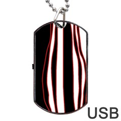 White, Red And Black Lines Dog Tag Usb Flash (one Side) by Valentinaart