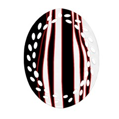 White, Red And Black Lines Ornament (oval Filigree)  by Valentinaart
