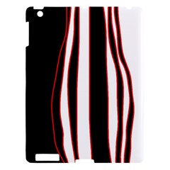 White, Red And Black Lines Apple Ipad 3/4 Hardshell Case by Valentinaart