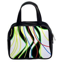 Colorful Lines   Abstract Art Classic Handbags (2 Sides) by Valentinaart