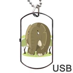 Elephant Animal Jungle Savannah Dog Tag USB Flash (Two Sides)  by Zeze