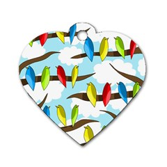 Parrots flock Dog Tag Heart (Two Sides)