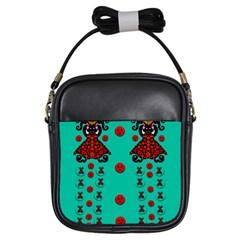 Dancing In Polka Dots Girls Sling Bags by pepitasart