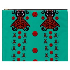 Dancing In Polka Dots Cosmetic Bag (xxxl)  by pepitasart