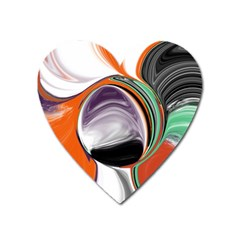 Abstract Orb In Orange, Purple, Green, And Black Heart Magnet by theunrulyartist