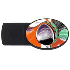 Abstract Orb In Orange, Purple, Green, And Black Usb Flash Drive Oval (2 Gb)  by theunrulyartist