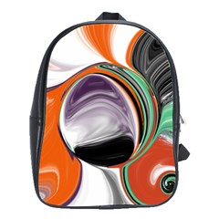 Abstract Orb In Orange, Purple, Green, And Black School Bags(large)  by theunrulyartist
