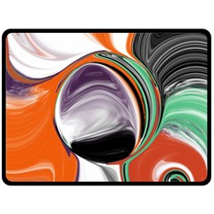 Abstract Orb In Orange, Purple, Green, And Black Double Sided Fleece Blanket (large)  by theunrulyartist