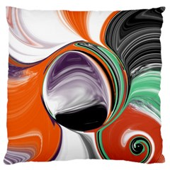Abstract Orb In Orange, Purple, Green, And Black Large Flano Cushion Case (one Side) by theunrulyartist