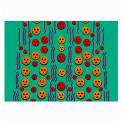 Pumkins Dancing In The Season Pop Art Large Glasses Cloth by pepitasart