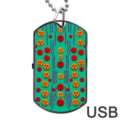 Pumkins Dancing In The Season Pop Art Dog Tag USB Flash (One Side) by pepitasart