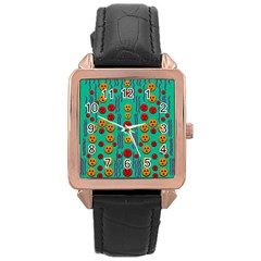 Pumkins Dancing In The Season Pop Art Rose Gold Leather Watch  by pepitasart