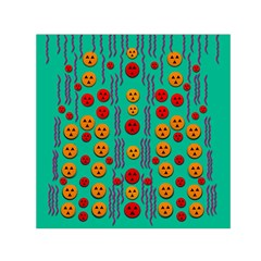 Pumkins Dancing In The Season Pop Art Small Satin Scarf (square) by pepitasart