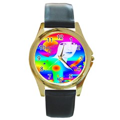 Abstract Color Dream Round Gold Metal Watch by icarusismartdesigns