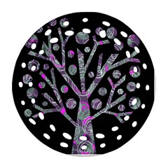 Purple magical tree Round Filigree Ornament (2Side) by Valentinaart