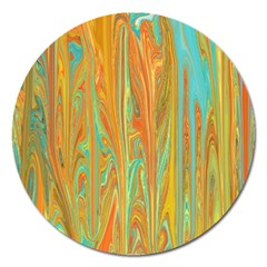 Beautiful Abstract in Orange, Aqua, Gold Magnet 5  (Round) by theunrulyartist