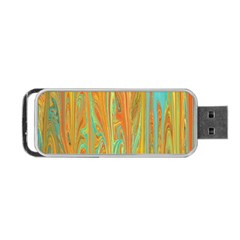 Beautiful Abstract In Orange, Aqua, Gold Portable Usb Flash (two Sides) by theunrulyartist