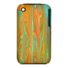 Beautiful Abstract In Orange, Aqua, Gold Apple Iphone 3g/3gs Hardshell Case (pc+silicone) by theunrulyartist