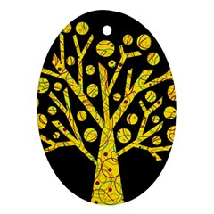 Yellow Magical Tree Oval Ornament (two Sides) by Valentinaart