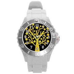 Yellow Magical Tree Round Plastic Sport Watch (l) by Valentinaart