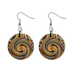 Gold Blue And Red Swirl Pattern Mini Button Earrings by theunrulyartist