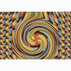 Gold Blue And Red Swirl Pattern Collage Prints by theunrulyartist