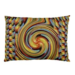 Gold Blue And Red Swirl Pattern Pillow Case by theunrulyartist
