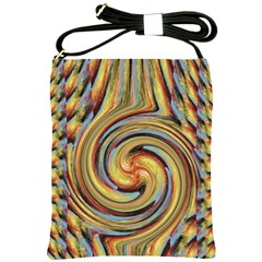 Gold Blue And Red Swirl Pattern Shoulder Sling Bags by theunrulyartist