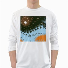 Sun-Ray Swirl Design White Long Sleeve T-Shirts by theunrulyartist