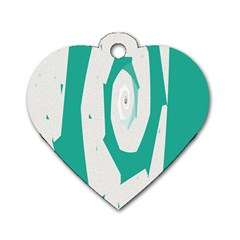Aqua Blue And White Swirl Design Dog Tag Heart (two Sides) by theunrulyartist