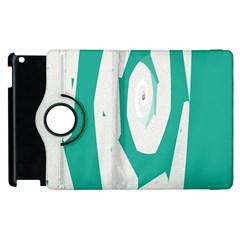 Aqua Blue And White Swirl Design Apple Ipad 3/4 Flip 360 Case by theunrulyartist