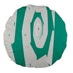 Aqua Blue And White Swirl Design Large 18  Premium Round Cushions by theunrulyartist