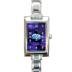 Lotus Flower Magical Colors Purple Blue Turquoise Rectangle Italian Charm Watch by yoursparklingshop
