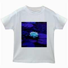 Lotus Flower Magical Colors Purple Blue Turquoise Kids White T Shirts by yoursparklingshop