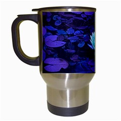 Lotus Flower Magical Colors Purple Blue Turquoise Travel Mugs (white) by yoursparklingshop