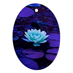 Lotus Flower Magical Colors Purple Blue Turquoise Oval Ornament (two Sides) by yoursparklingshop