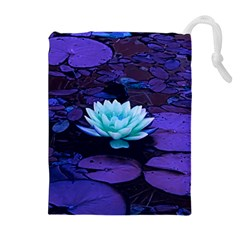 Lotus Flower Magical Colors Purple Blue Turquoise Drawstring Pouches (extra Large) by yoursparklingshop