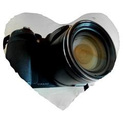 My Camera Large 19  Premium Flano Heart Shape Cushions by picsaspassion