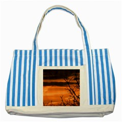 Tree Branches And Sunset Striped Blue Tote Bag by picsaspassion