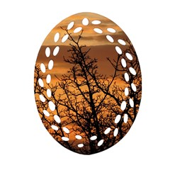 Colorful Sunset Oval Filigree Ornament (2 Side)  by picsaspassion