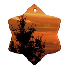 Christmas Tree And Sunset Snowflake Ornament (2 Side) by picsaspassion
