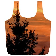 Christmas Tree And Sunset Full Print Recycle Bags (l)  by picsaspassion