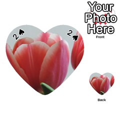 Red - White Tulip flower Playing Cards 54 (Heart)  by picsaspassion