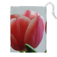 Red - White Tulip flower Drawstring Pouches (XXL) by picsaspassion