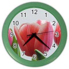 Red Tulips Color Wall Clocks by picsaspassion