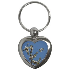 White Cherry Flowers And Blue Sky Key Chains (heart)  by picsaspassion