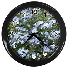 Little Blue Forget Me Not Flowers Wall Clocks (black) by picsaspassion