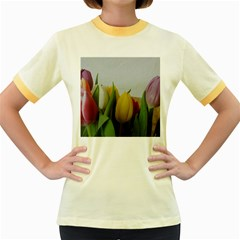 Colorful Bouquet Tulips Women s Fitted Ringer T Shirts by picsaspassion