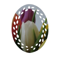 Colored By Tulips Oval Filigree Ornament (2 Side)  by picsaspassion