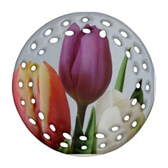 Tulip Spring Flowers Round Filigree Ornament (2side) by picsaspassion